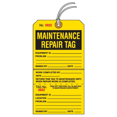 Tear-Off Jumbo Maintenance Repair Tags