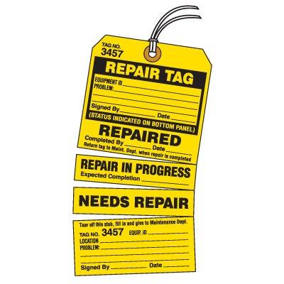 Tear-Off Jumbo 4-Part Repair Tag