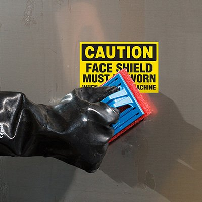 ToughWash® Labels - Caution Face Shield