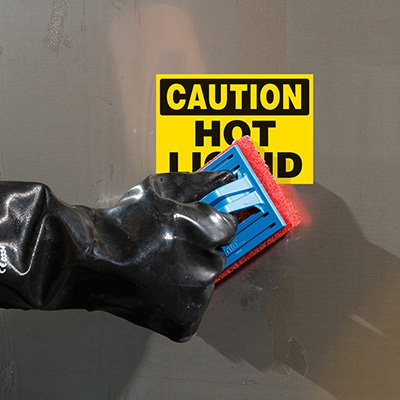 ToughWash® Labels - Caution Hot Liquid