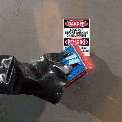 ToughWash® Labels - Danger Lockout Before Work (Bilingual)