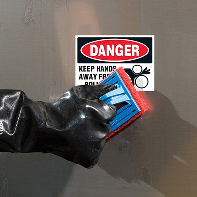 ToughWash® Labels - Keep Hands Away From Rollers