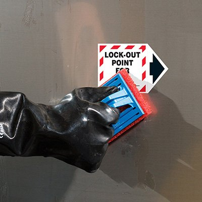 ToughWash® Labels - Lock-Out Point For__ (With Arrow)