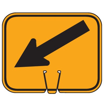 Traffic Cone Signs - Arrow Down Left