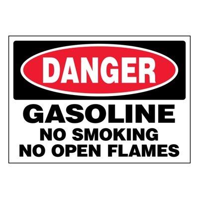 Ultra-Stick Signs - Danger Gasoline No Smoking