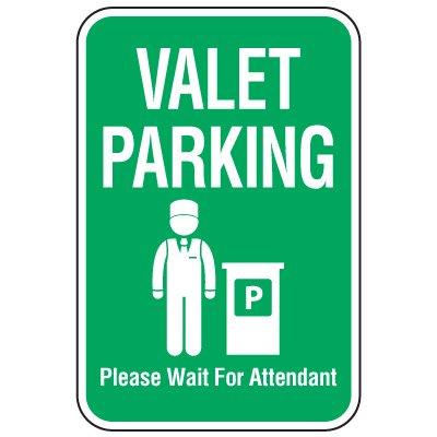 Visitor Parking Signs - Valet Parking Wait For Attendant