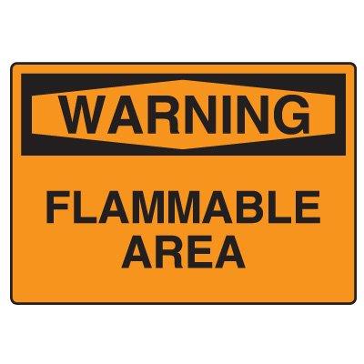 Hazardous Material Warning Sign - Warning Flammable Area
