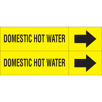 Weather-Code™ Self-Adhesive Outdoor Pipe Markers - Domestic Hot Water