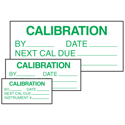 Calibration By Date Next Cal Due Self Laminating Labels
