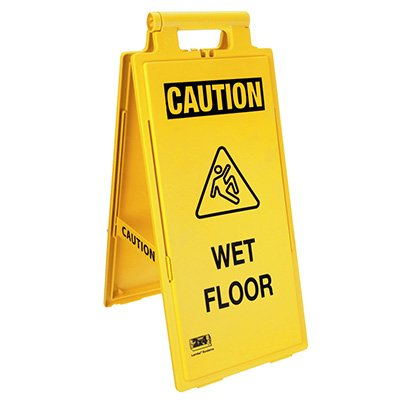 Cortina Lockin'arm Floor Stand Signs - Caution Wet Floor With Graphic