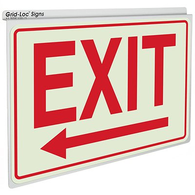 Exit w/ Left Arrow - Drop Ceiling Double-Faced Signs