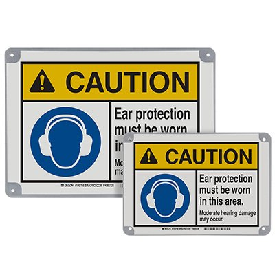 ToughWash® Encapsulated Signs - Caution Ear Protection Must Be Worn