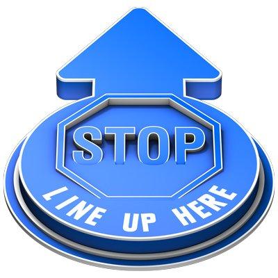 Stop Line Up Here Outdoor 3D Floor Sign - Blue