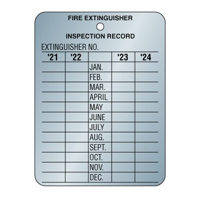 Metal Fire Extinguisher Inspection Tags - Four Year Validation [2021-2024]