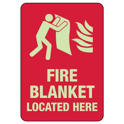 Fire Blanket Located Here Photoluminescent Sign