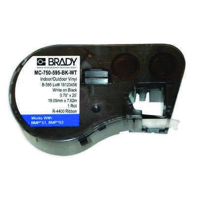 Brady MC-750-595-BK-WT BMP51/BMP41 Label Cartridge - White on Black