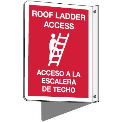 2-Way Bilingual Roof Ladder Access Sign