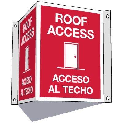 3-Way Bilingual Roof Access Sign