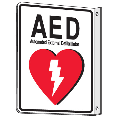 2-Way View AED Sign - Automated External Defibrillator