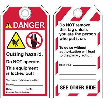 ANSI Cutting Hazard Warning Tags