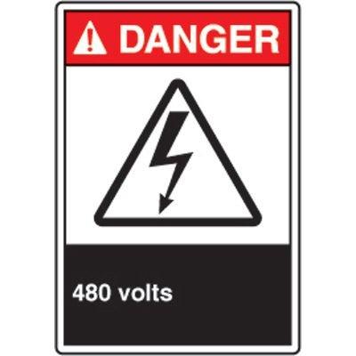 ANSI Safety Signs - Danger 480 Volts