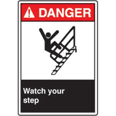ANSI Safety Signs - Danger Watch Your Step