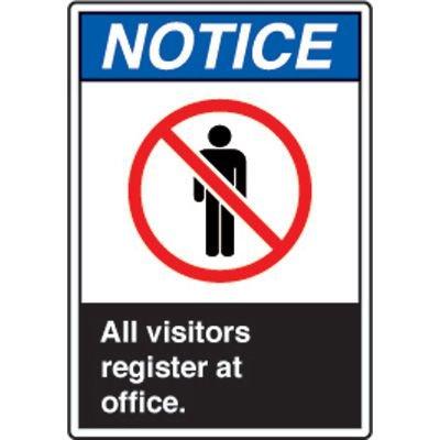 ANSI Safety Signs - Notice All Visitors Register