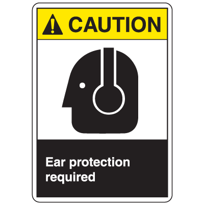 ANSI Z535 Safety Labels - Caution Ear Protection Required