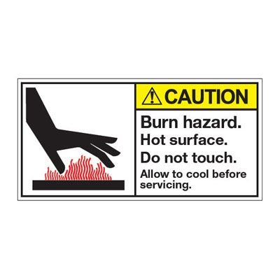 ANSI Z535 Safety Labels - Caution Burn Hazard Hot Surface Do Not Touch