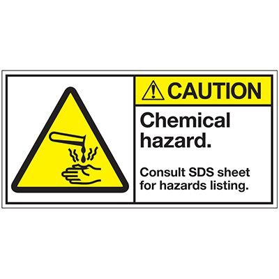 ANSI Z535 Safety Labels - Caution Chemical Hazard Consult SDS Sheet