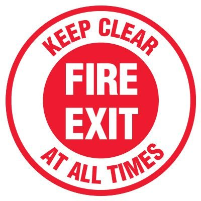 Anti-Slip Floor Markers - Fire Exit Keep Clear At All Times