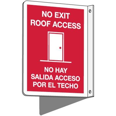 2-Way Bilingual No Exit Roof Access Sign