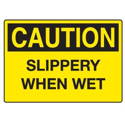 Fall Hazard Signs - Caution Slippery When Wet