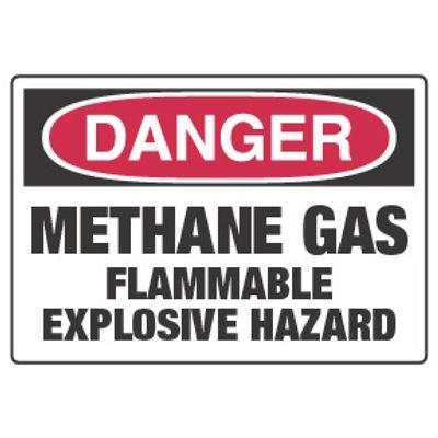 Chemical Hazard Danger Sign - Methane Gas Flammable Explosive Hazard