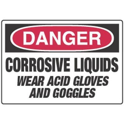 Chemical Signs - Danger Corrosive Liquids