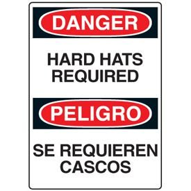 Construction Safety Signs - Danger Hard Hat Required / Peligro Se Requiren Cascos