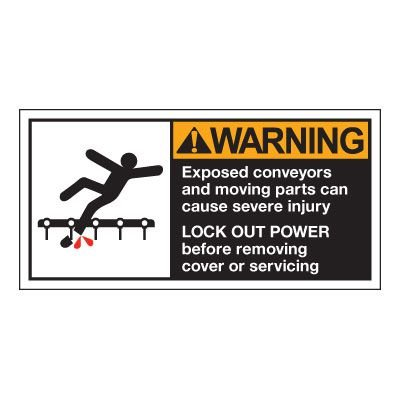 Conveyor Safety Labels - Warning Exposed Conveyor