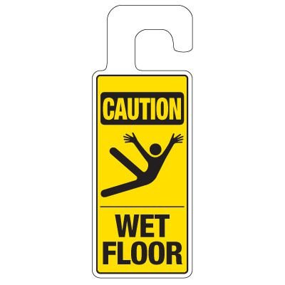 Door Knob Hangers - Caution Wet Floor