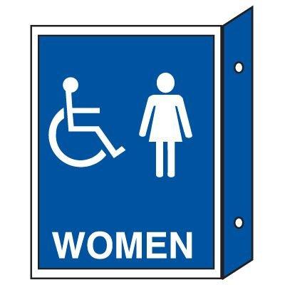 Handicap Women's Restoom Signs - Double Faced