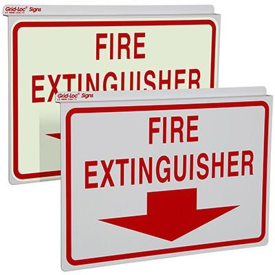 Drop Ceiling Double-Faced Fire Extinguisher Sign with Down Arrow