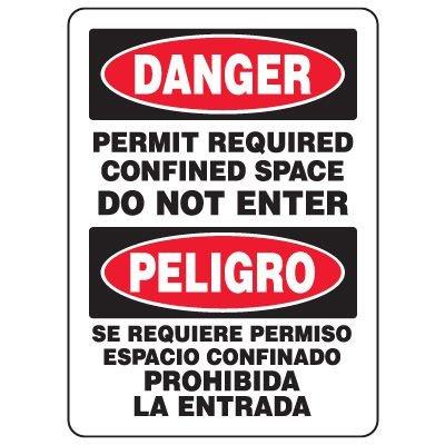 Bilingual Eco-Friendly Signs - Danger Permit Required Confined Space Do Not Enter/ Peligro Se Requiere Permiso Espacio