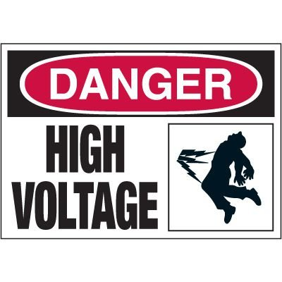Electrical Warning Labels - Danger High Voltage With Graphic