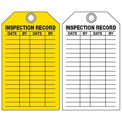 Equipment Inspection Ultra-Tags - Inspection Record