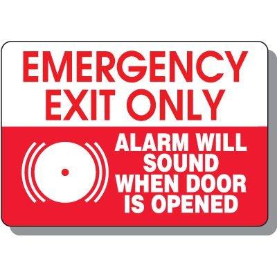 Emergency Exit Alarm Signs