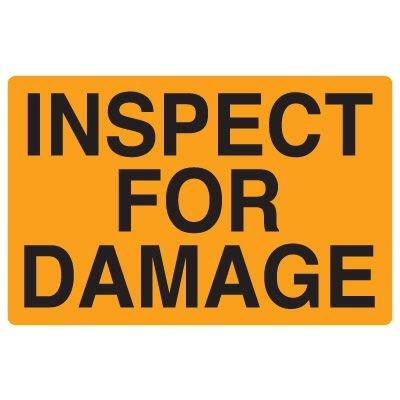 Fluorescent Warehouse & Pallet Labels - Inspect for Damage