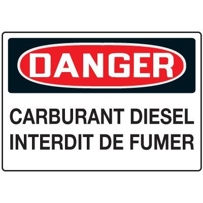 Enseignes de Sécurité - Danger Carburant Diesel Interdit De Fumer