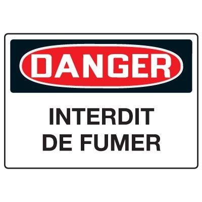 Enseignes de Sécurité - Danger Interdit De Fumer
