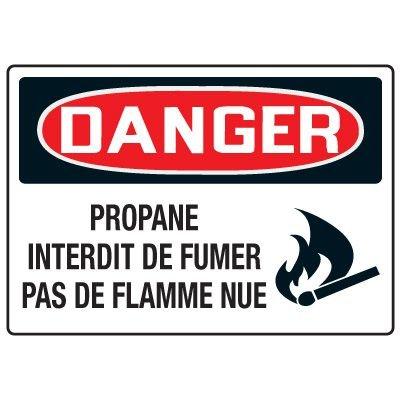 Enseignes de Sécurité - Danger Propane Interdit De Fumer