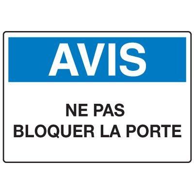 Enseignes de Sécurité - Avis Ne Pas Bloquer La Porte