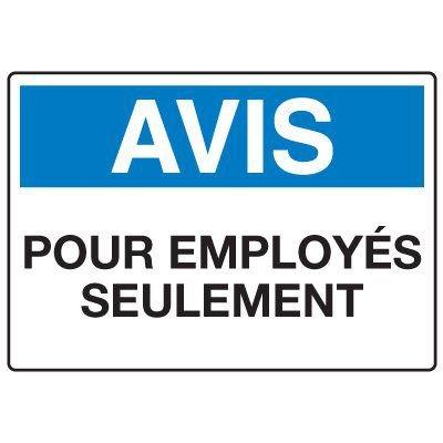 Enseignes de Sécurité - Avis Pour Employes Seulement